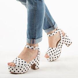 Sandale dama cu buline si platforma HD-188-WHITE-OUTLET, Marime: 38**, imagine