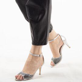 Sandale dama de ocazie argintii 8T8555-85-S, Marime: 35, imagine
