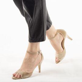 Sandale dama cu toc bej 8T8555-111-B, Marime: 35, imagine