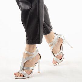 Sandale de dama cu toc inalt argintii 7W1688-10A-S, Marime: 35, imagine