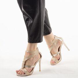Sandale dama cu toc inalt aurii 7W1688-10A-G, Marime: 39, imagine