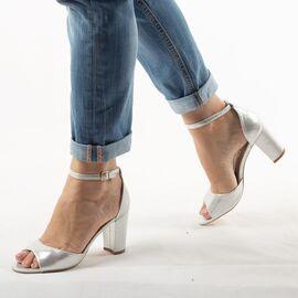 Sandale dama argintii cu aspect lucios SA-5-SILVER, Marime: 36, imagine