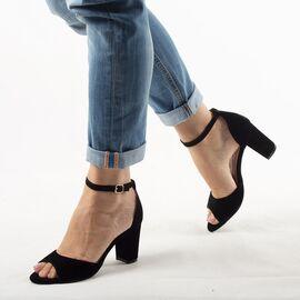 Sandale dama de catifea negre SA-3-NEGRU, Marime: 35, imagine