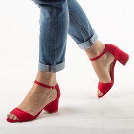 Sandale dama rosii de catifea A16020-1A-RED, Marime: 35, imagine