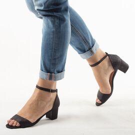 Sandale dama negre cu glitter 947-2-BLACK, Marime: 35, imagine