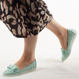 Pantofi de dama, cu talpa joasa, verzi LM95A-L.BLUE, Marime: 36*, imagine