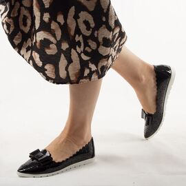 Pantofi de dama, lacuiti, cu talpa joasa, negri LM95-BLACK, Marime: 36*, imagine