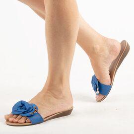 Papuci de dama, albastri cu talpa joasa LSJ-001-BLUE, Marime: 36, imagine