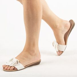 Papuci de dama, albi cu talpa joasa LSJ-001-WHITE, Marime: 36, imagine