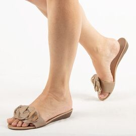 Papuci de dama, kaki cu talpa joasa LSJ-001-KHAKI, Marime: 36, imagine