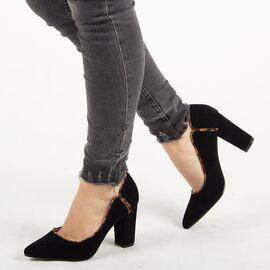 Pantofi de dama, negri, stiletto cu toc gros Q68B-BK/LEOPARD, Marime: 36, imagine