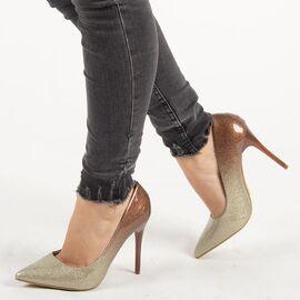 Pantofi de dama, maro, stiletto cu toc inalt si subtire XQ55051-CHAMPAGNE, Marime: 36, imagine