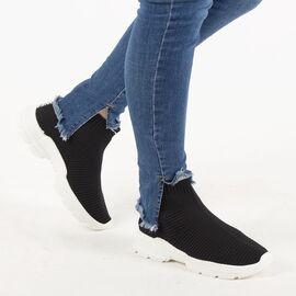 Sneakers de dama din material elastic P303-BLACK, Marime: 36, imagine
