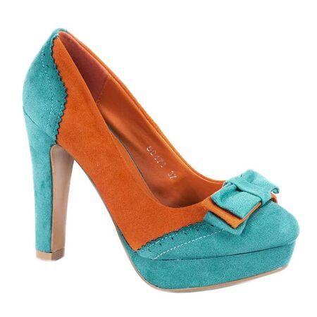 Pantofi cu platforma 50478 - Green-Orange