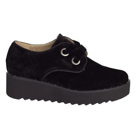 Pantofi dama negri cu siret si platforma K1836603-N