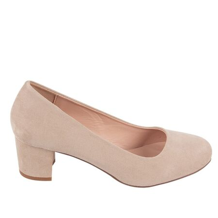 Pantofi dama bej cu toc mediu B9897-2BEJ, Marime: 36, imagine