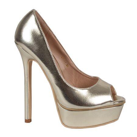 Pantofi dama cu platforma aurii XT-11-G, Marime: 38, imagine