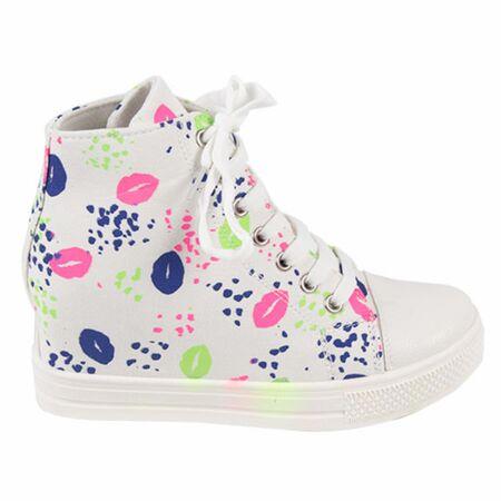 Sneakers dama din denim 2903-ALB, Marime: 40, imagine