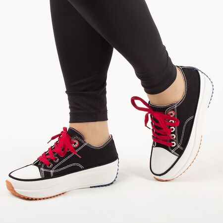 Sneakers dama, din denim negru cu siret AB5651-BLACK, Marime: 36, imagine