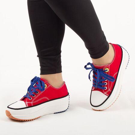 Sneakers dama, din denim, rosii cu siret AB5651-BIGRED, Marime: 36, imagine