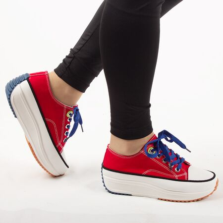 Sneakers dama, din denim, rosii cu siret AB5651-BIGRED, Marime: 36, imagine _ab__is.image_number.default