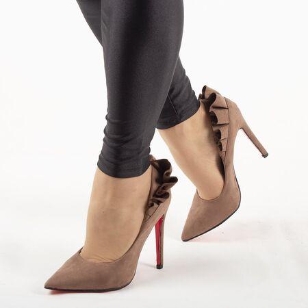 Pantofi de dama, kaki, eleganti cu toc inalt JM8128Y-KAKI, Marime: 35*, imagine
