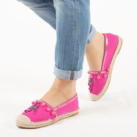 Espadrile de dama, roz, cu talpa joasa, comoda HD-163-FUCHSIA, Marime: 36, imagine