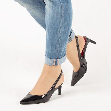 Sandale de dama, negre, lacuite, cu toc mediu HD-178-BLACK, Marime: 35, imagine