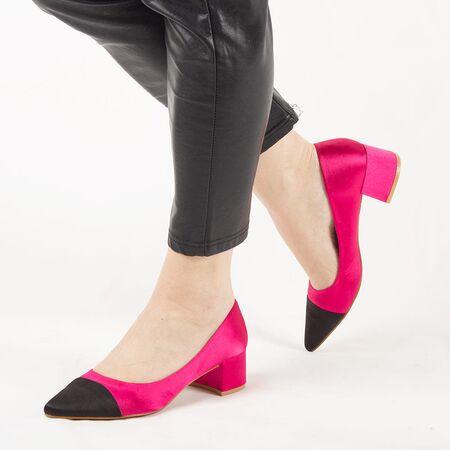 Pantofi de dama, fucsia, satinati, cu toc mic L88-161A-FUCHSIA, Marime: 35*, imagine