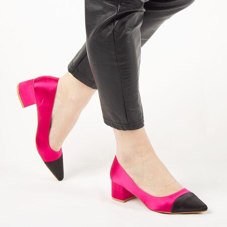 Pantofi de dama, fucsia, satinati, cu toc mic L88-161A-FUCHSIA, Marime: 35*, imagine _ab__is.image_number.default