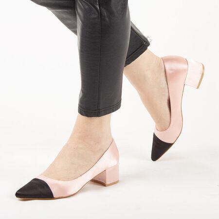 Pantofi de dama, roz, satinati, cu toc mic L88-161A-PINK, Marime: 35*, imagine