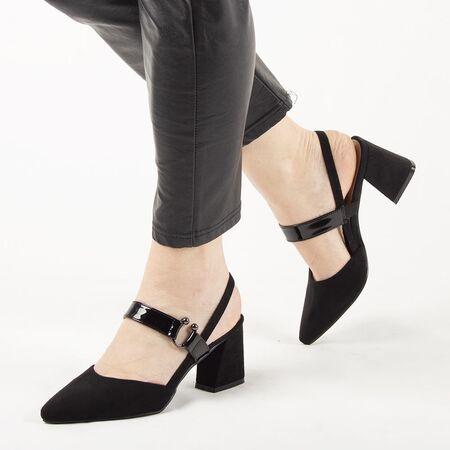 Sandale de dama, negre, cu toc gros si barete F-63-BLACK, Marime: 35*, imagine