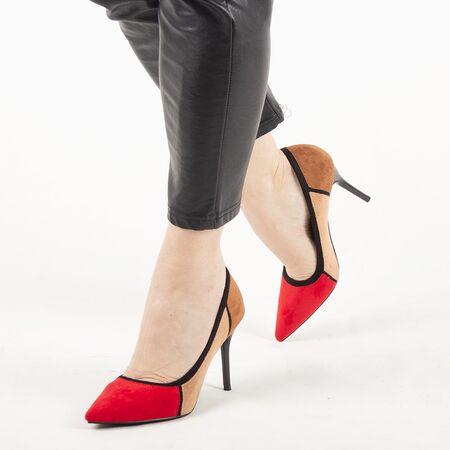Pantofi de dama, multicolori, cu toc inalt, stiletto H369-RED, Marime: 35*, imagine