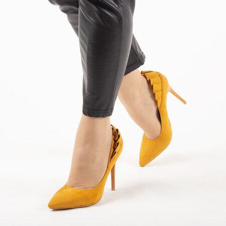 Pantofi de dama, galbeni, eleganti cu toc inalt L88-179-YELLOW, Marime: 35*, imagine