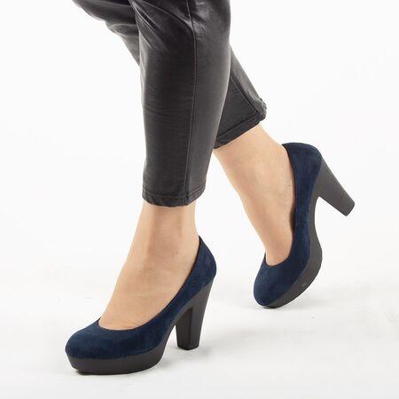 Pantofi de dama, bleumarin, cu platforma si toc gros OM-23-BLUE, Marime: 40, imagine