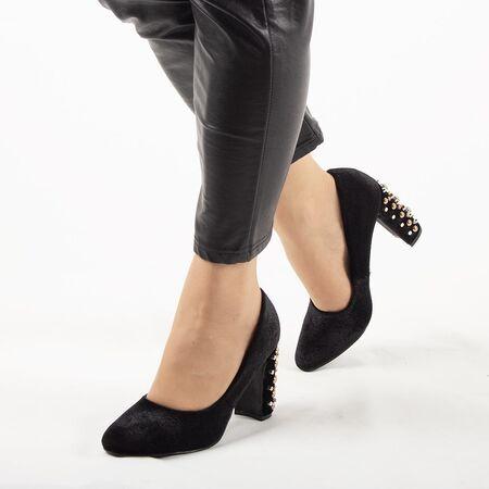 Pantofi de dama, negri, cu toc gros, accesorizat cu pietre si tinte OM-159-BLACK, Marime: 35, imagine
