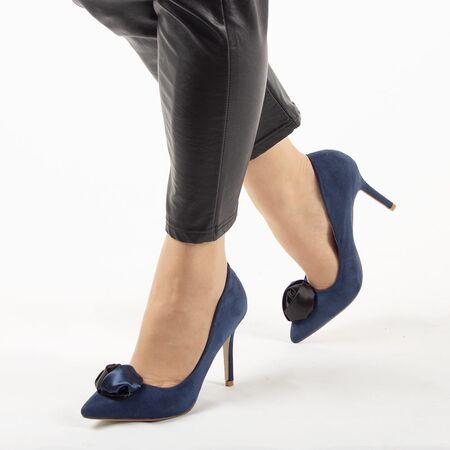 Pantofi de dama, bleumarin, cu toc inalt, stiletto JM-W717W-AZUL-MARINO, Marime: 35, imagine