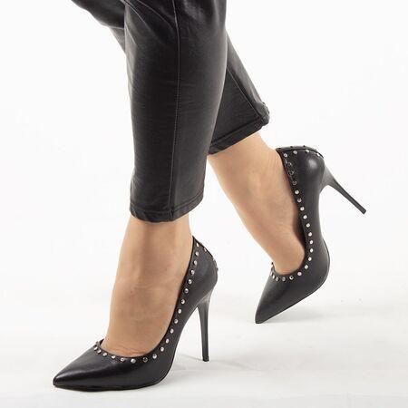 Pantofi de dama, negri, stiletto cu toc inalt si subtire AB-4503-300-BLACK, Marime: 35, imagine