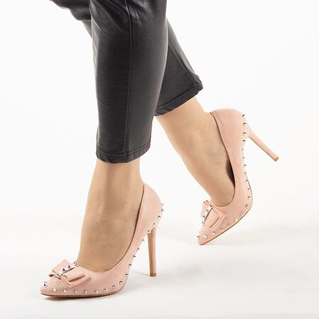 Pantofi dama, roz cu toc subtire si tinte argintii JH17-02-ROSA, Marime: 35, imagine
