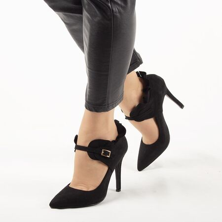 Pantofi de dama, negri, toc inalt si bareta L88-159-BLACK, Marime: 35*, imagine