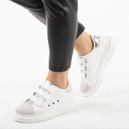 Pantofi de dama, sport - casual, cu arici AB112-WHITE-SILVER, Marime: 37, imagine