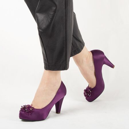 Pantofi de dama mov cu accesorii flori A3357-PURPLE, Marime: 40, imagine