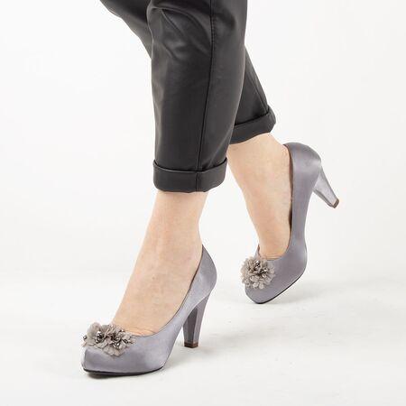 Pantofi de dama gri cu accesorii flori A3357-GRAY, Marime: 38, imagine