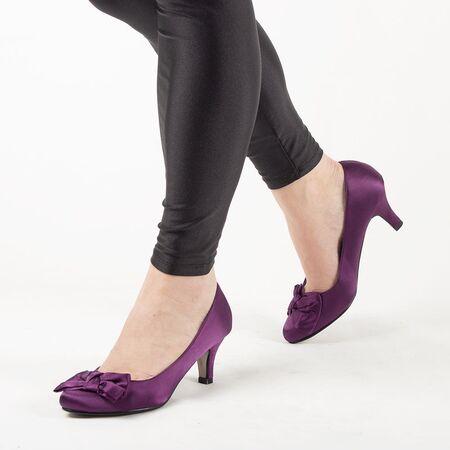 Pantofi de dama cu funda A1103PURPLE, Marime: 38, imagine