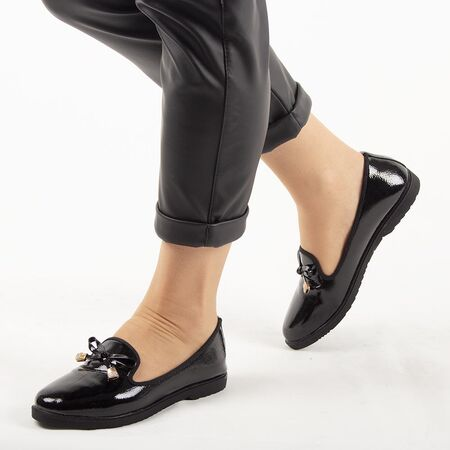 Pantofi de dama, negri, lacuiti, accesorizati cu funda A30-1-BLACK, Marime: 37, imagine