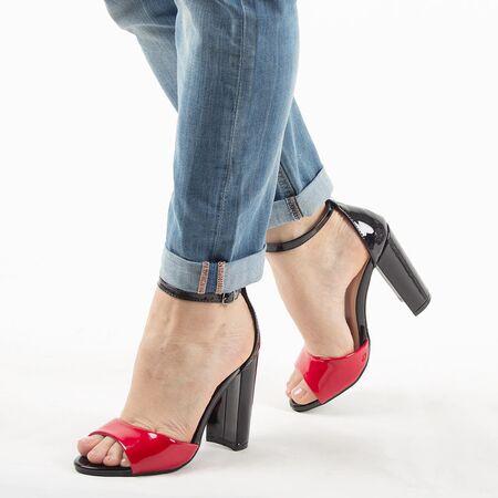 Sandale dama, cu toc gros si inalt 369-32-RED, Marime: 37, imagine