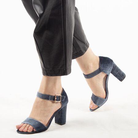 Sandale dama cu toc gros gri 10G201-6SG-G, Marime: 36, imagine