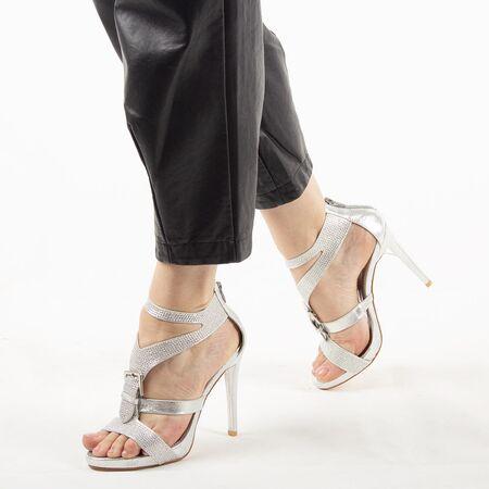 Sandale de dama cu toc inalt argintii 7W1688-10A-S, Marime: 38, imagine