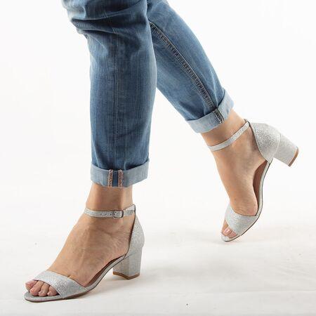 Sandale dama argintii cu glitter aplicat 947-2-SILVER, Marime: 35, imagine