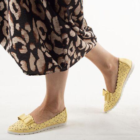 Pantofi de dama, cu talpa joasa, galbeni LM95A-YELLOW, Marime: 36*, imagine